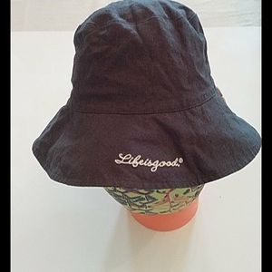 Life is Good sun hat, navy reversible
